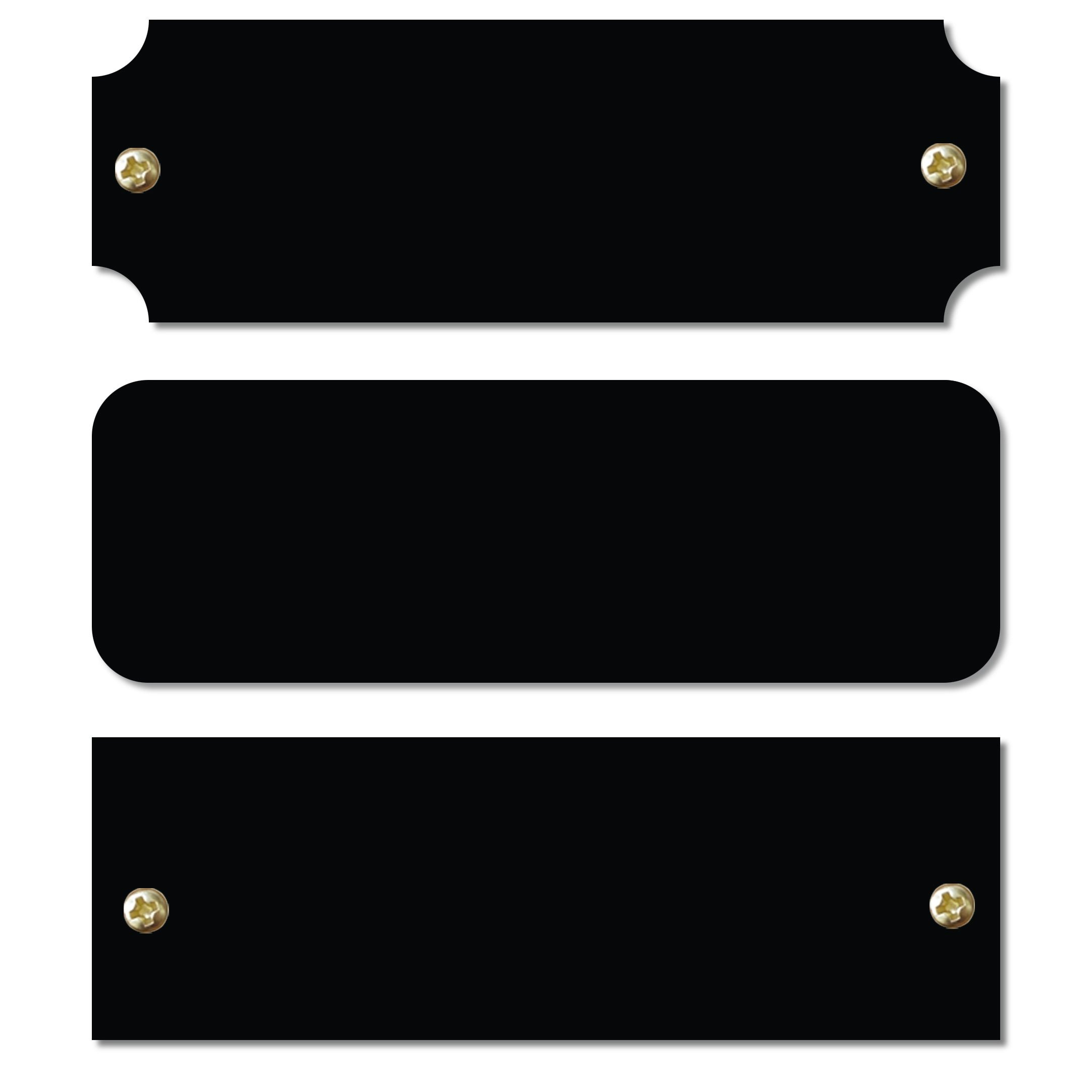 1'' H x 3'' W, 12 Pieces Solid Brass Black Color Name Plate, Blank Plate in Bulk, Perpetual Plaque Blank Tag Square, Notched Or Rounded Corners