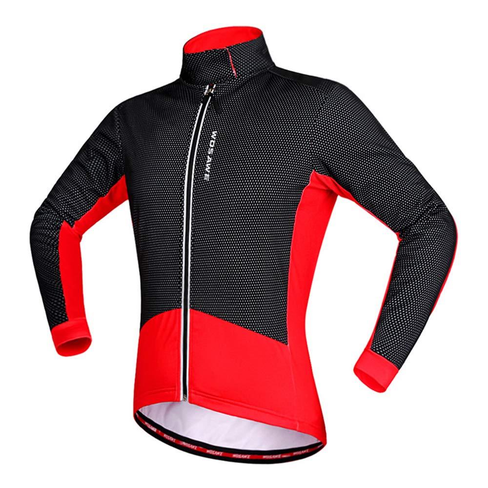 ROOKLY Herren Radtrikot Anzug Winter Thermo Fleece Langarm Mountain Coat Bike Shirt 3D Strumpfhosen Gepolstert,L
