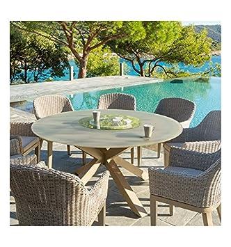 Table Ronde Taupe 8 Personnes Dubai Hesperide Amazon Fr Jardin