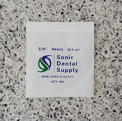 "Sonic Dental - Clear 3/16"" 4.5 oz - Orthodontic Elastic - Braces - Dental Rubber Bands"