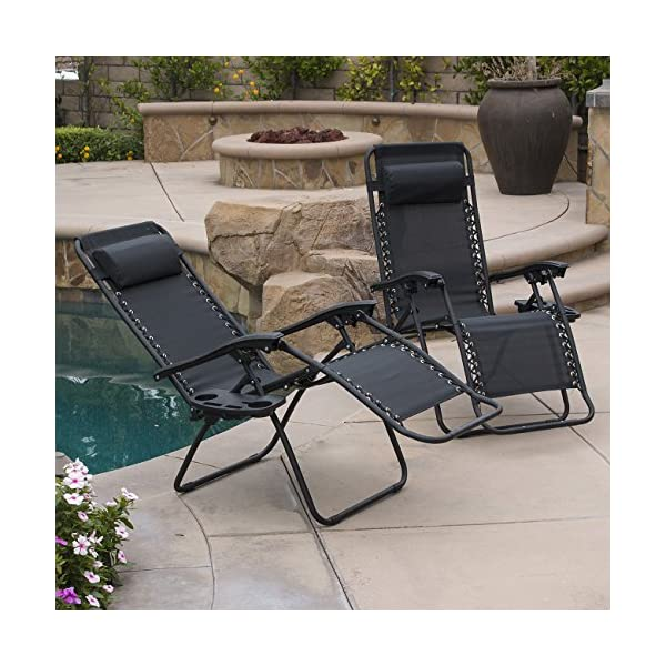 Belleze 2-Pack Zero Gravity Chairs - Black