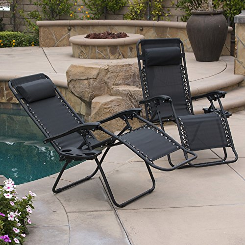 Belleze Set of (2) Zero Gravity Chair Lounge Chairs Patio Seat Backyard Yard BeachRecliner Pillow w/Cup Holder Tray, Black
