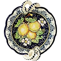 CERAMICHE D'ARTE PARRINI - Italian Ceramic Art Pottery Serving Bowl Centerpieces Hand Painted Decorative Lemons Made in ITALY Tuscan