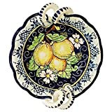 CERAMICHE D'ARTE PARRINI - Italian Ceramic Art Pottery Serving Bowl Small Centerpieces Hand Painted Decorative Lemons Made in ITALY Tuscan