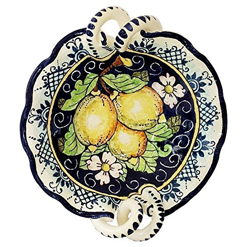 (CERAMICHE D'ARTE PARRINI - Italian Ceramic Art Pottery Serving Bowl Small Centerpieces Hand Painted Decorative Lemons Made in ITALY Tuscan)