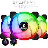 Asiahorse UFOII Wireless RGB LED 120mm Case Fan,Quiet Edition High Airflow Adjustable 100 kinds of chassis fan color, CPU Coolers,Radiators system(3PACK)