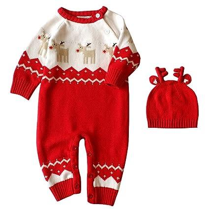 Bebé Pelele de lana invierno Mono de reno Impresión + Hat Set por wongfon Talla:
