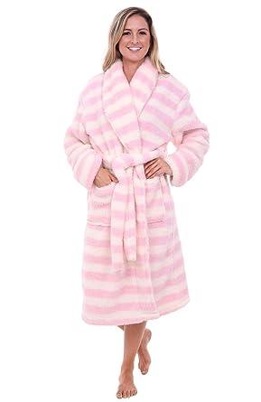 Alexander Del Rossa Womens Striped Fleece Robe f96f314c09