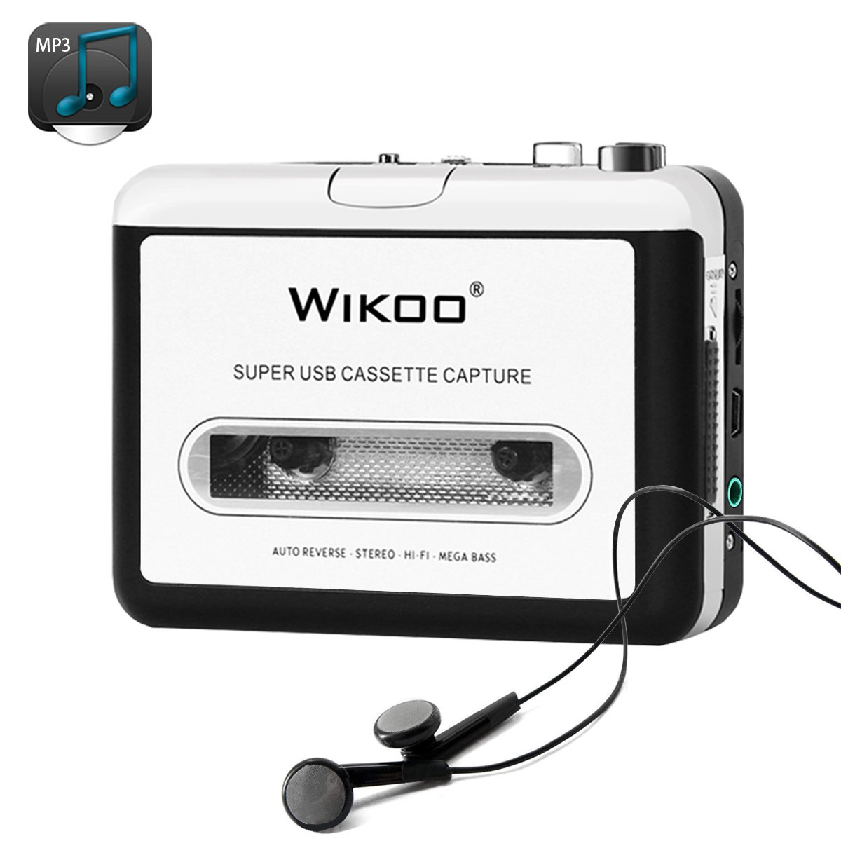 Wikoo Portable USB Cassette to Mp3 Converter with Earphone,USB Cassette to MP3 Converter Capture for Windows Xp/2000/7/Vista User/Mac Os 9/X User