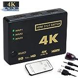 HDMI切替器 3入力1出力 4K*2K 3D映像 リモコンとUSBケーブル付き テレビ/ Apple/パソコン/ゲーム機など用