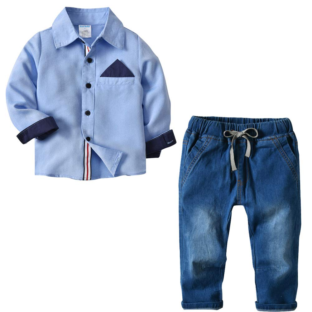 Toddler Baby Boys Gentleman Shirt Denim Jeans Outfit Suit Set