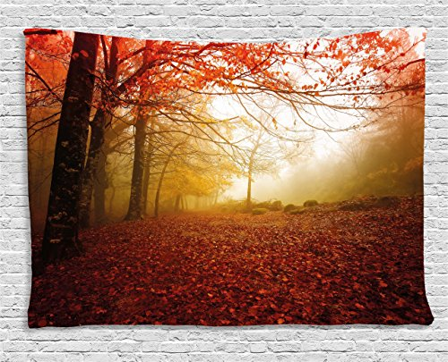 - Ambesonne Nature Tapestry by, Enchanted Autumn Forest in Foggy with Faded Shady Leaves Misty Fall Scenery, Wall Hanging for Bedroom Living Room Dorm, 60WX40L Inches, Sepia Vermilion