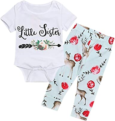 Baby Kids Outfits,Fineser 2PCS Toddler Baby Girl Letter Print Long Sleeves Romper+Print Pants Outfits Clothes 2 Sets