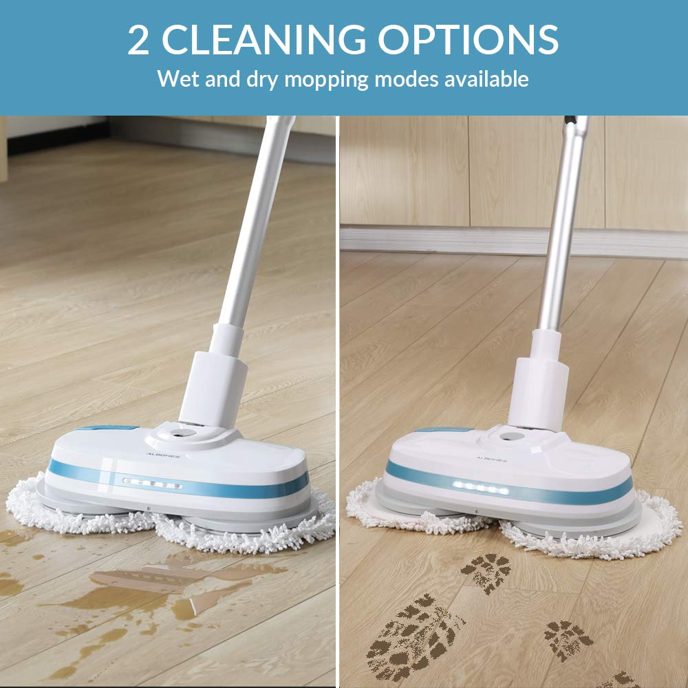 ALBOHES Cordless Spin Mop, Electronic Dual and Polisher Rechargeable Powered Floor Cleaner for All Surfaces - Rechargeable Spinning Mop-Polisher and Scrubber for Indoor Use - Reusable Pads by ALBOHES (Image #3)