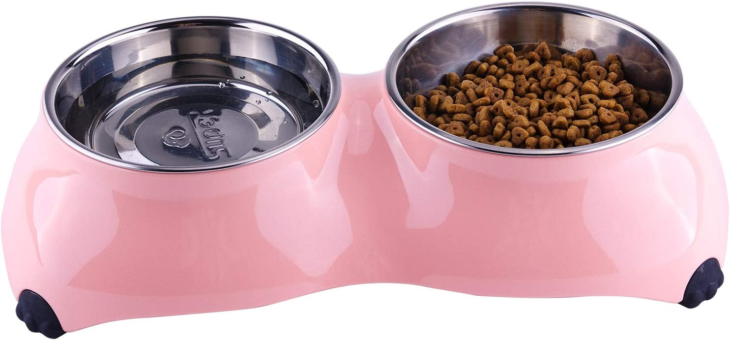 SuperDesign Dog Cat Bowl Double Stainless Steel Double Bowl for Food and Water Feeder