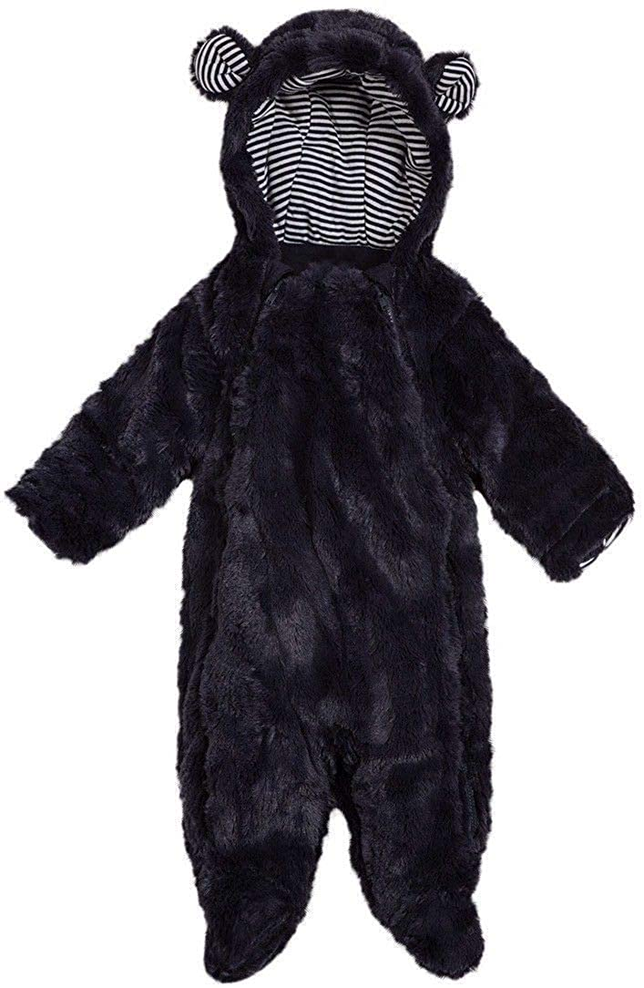 Boys Faux Fur Navy Blue Ink Hooded Snowsuit with Hood All in One Snow Suit 0-18 Months
