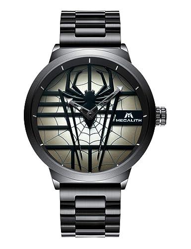 Relojes de Hombre Negro Relojes de Pulsera Impermeable Lujo Grandes Estilo Chino 3D Continuar Diseño Reloj Hombres Moda Cool Analógico Relieve de Cuarzo: ...