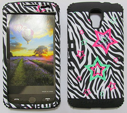 FOR LG VOLT VOLT LS740 BOOST, VIRGIN MOBILE STAR ZEBRA BK-TE773 RUGGED HYBRID CELL PHONE COVER PROTECTOR FACEPLATE HARD CASE AND BLACK SKIN WITH STYLUS PEN
