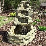 Sunnydaze Stone Falls Outdoor Fountain, 37 Inch