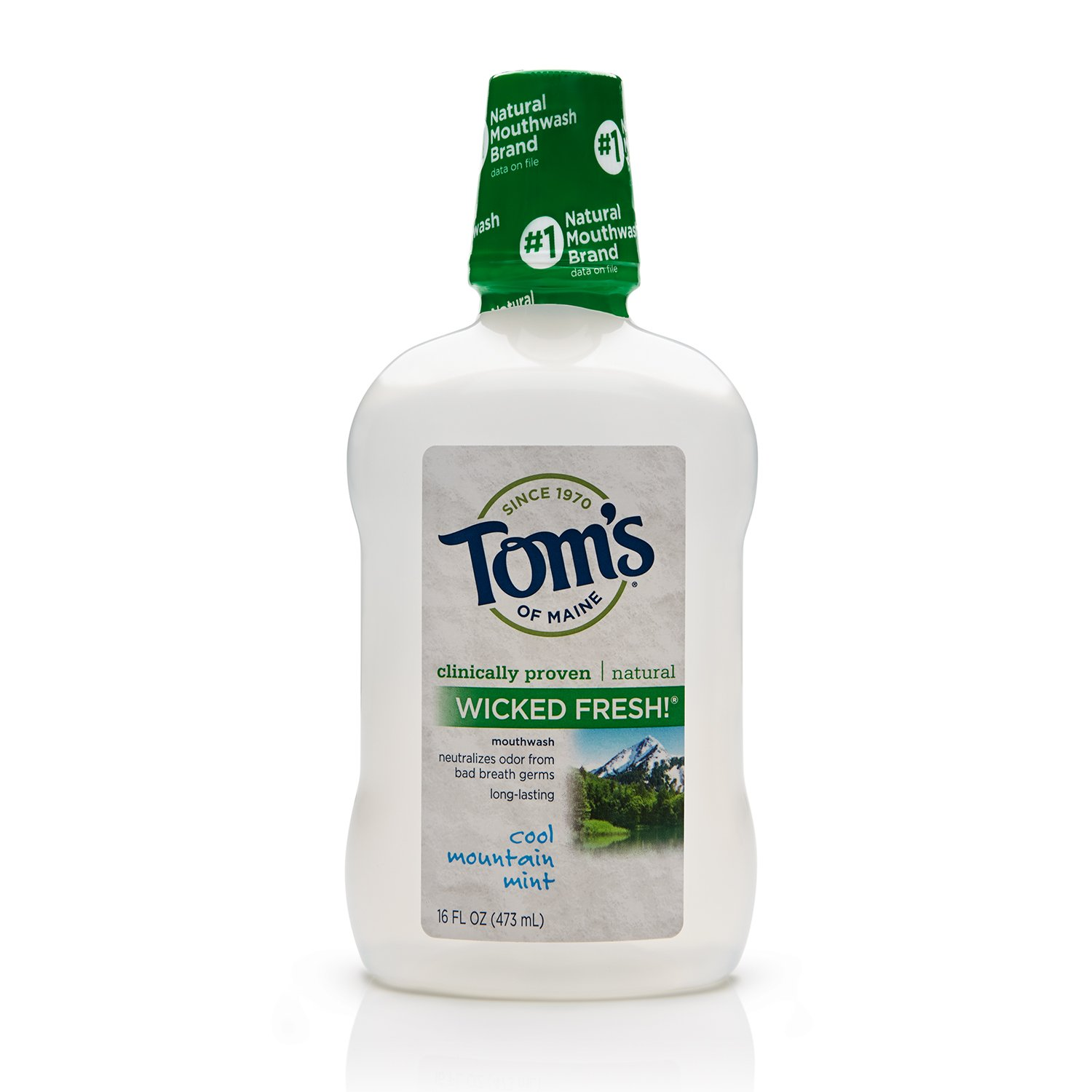 Tom's of Maine 683616 Long Lasting Wicked Fresh Mouth Wash, Cool Mountain Mint, 16 Ounce,24 Count