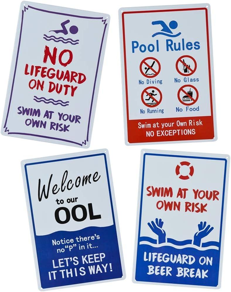 4 Pack Pool Rules Sign Segnale di avvertimento Rustico in metallo vintage Tin Poster Targa da parete per esterni