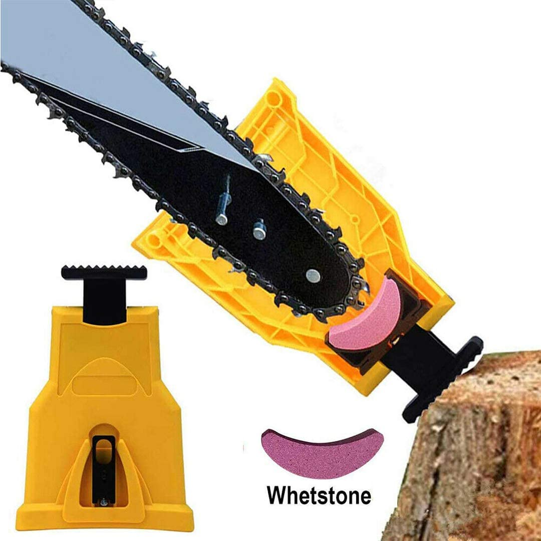 Chainsaw Teeth Sharpener Fast Sharping Stone Grinder Tools Power Bar Mount Saw Easy Chainsaw Sharpener Woodworking Tools with 14-16 Inch Two Holes Chain Saw Bar
