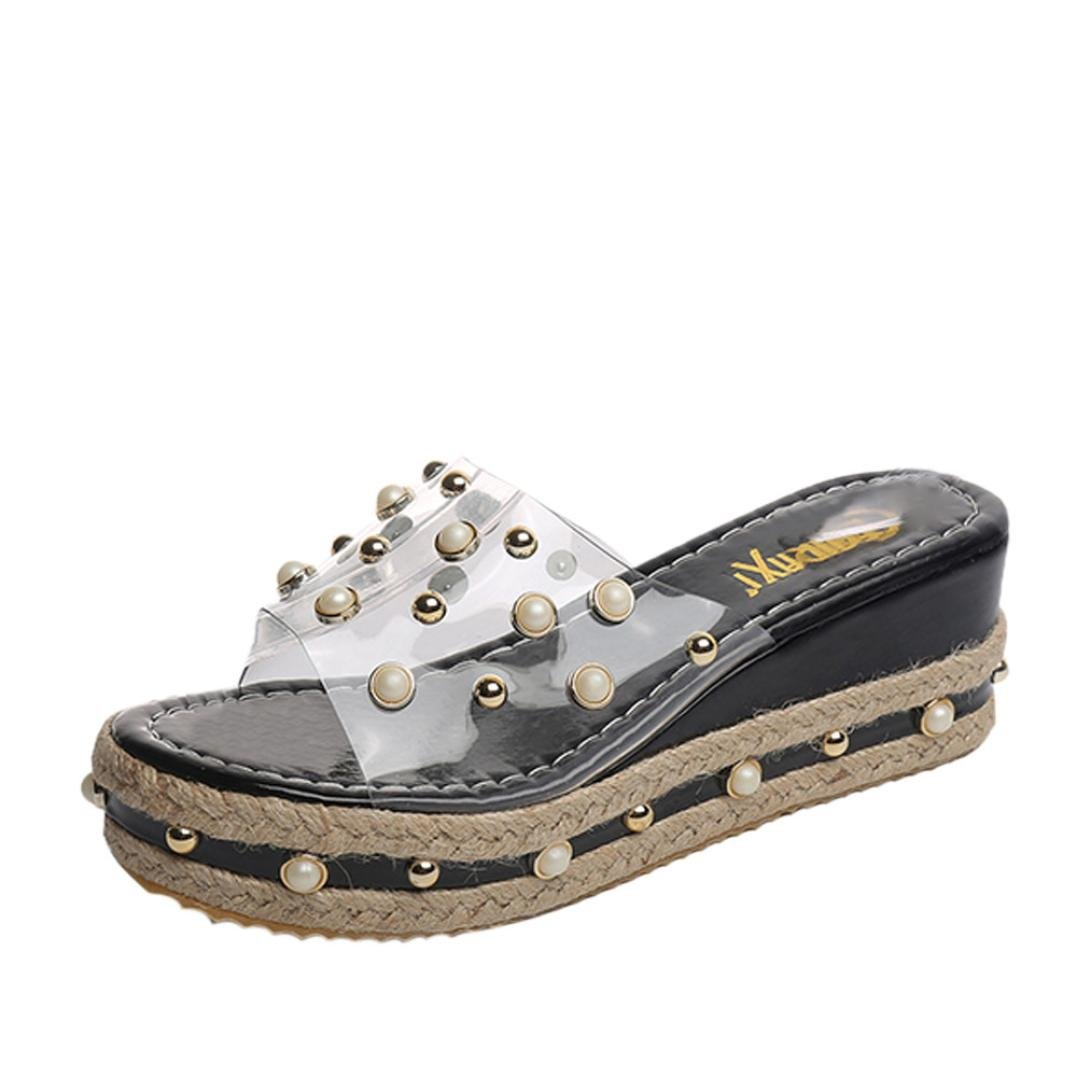 Summer Shoes,AIMTOPPY Pearl Sandals Thick Slope with Word Slipper Rhinestone Non-Slip Shoes for Women (US:7, Black)