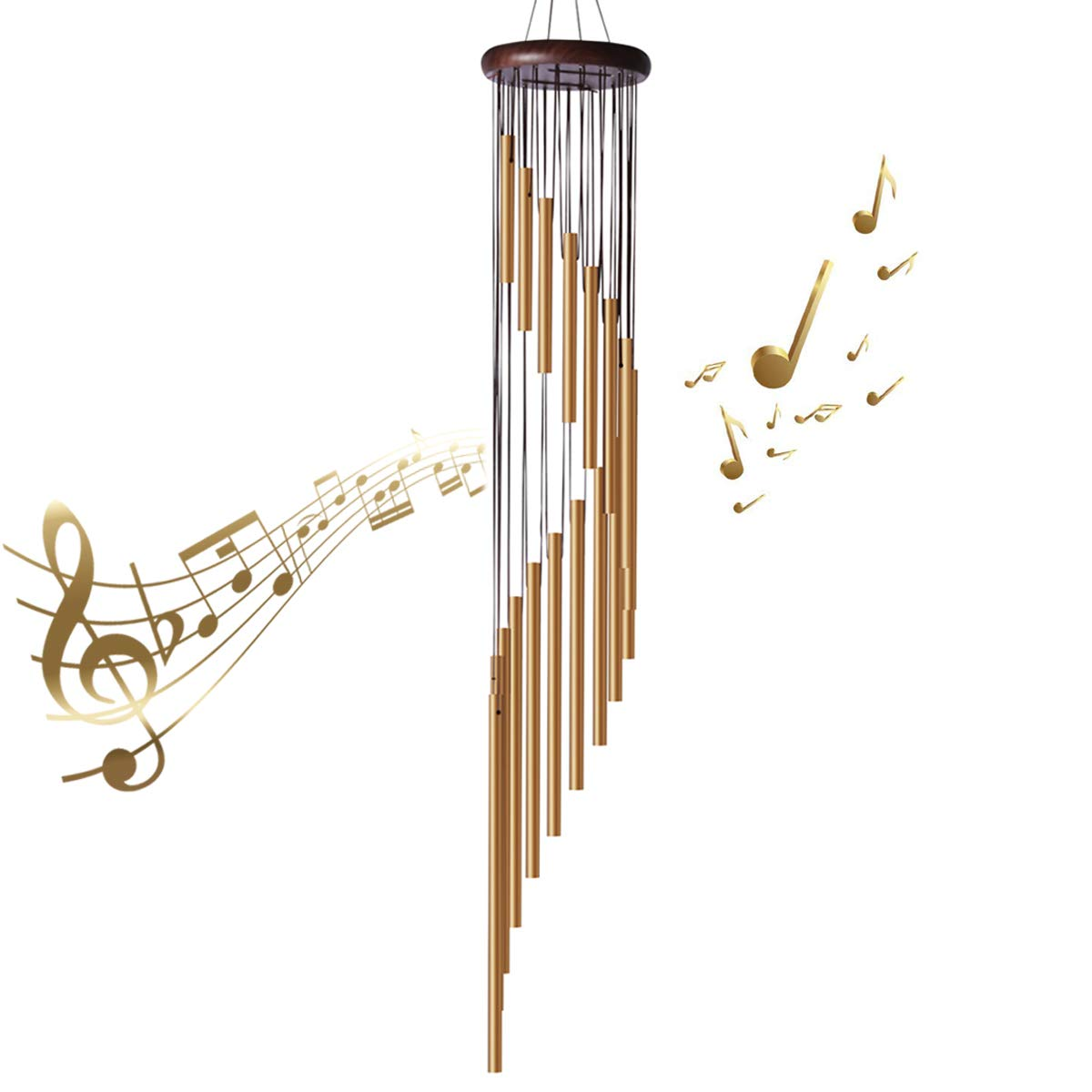35'' Large Wind Chimes - Amazing Grace Wind Chimes with 18 Roots Aluminum Alloy Tubes and Wood Design, Inspirational Collection for Outdoor Patio Backyard Home Decor (Golden Bronze)