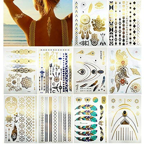 12 Sheets Metallic Temporary Tattoos Gold Jewelry Tattoo, 100+ Boho Waterproof Flash Fake Tattoo Sticker Designs for Women Girls - Bracelets, Necklace, Wrist and Arm Bands (10 sheets)