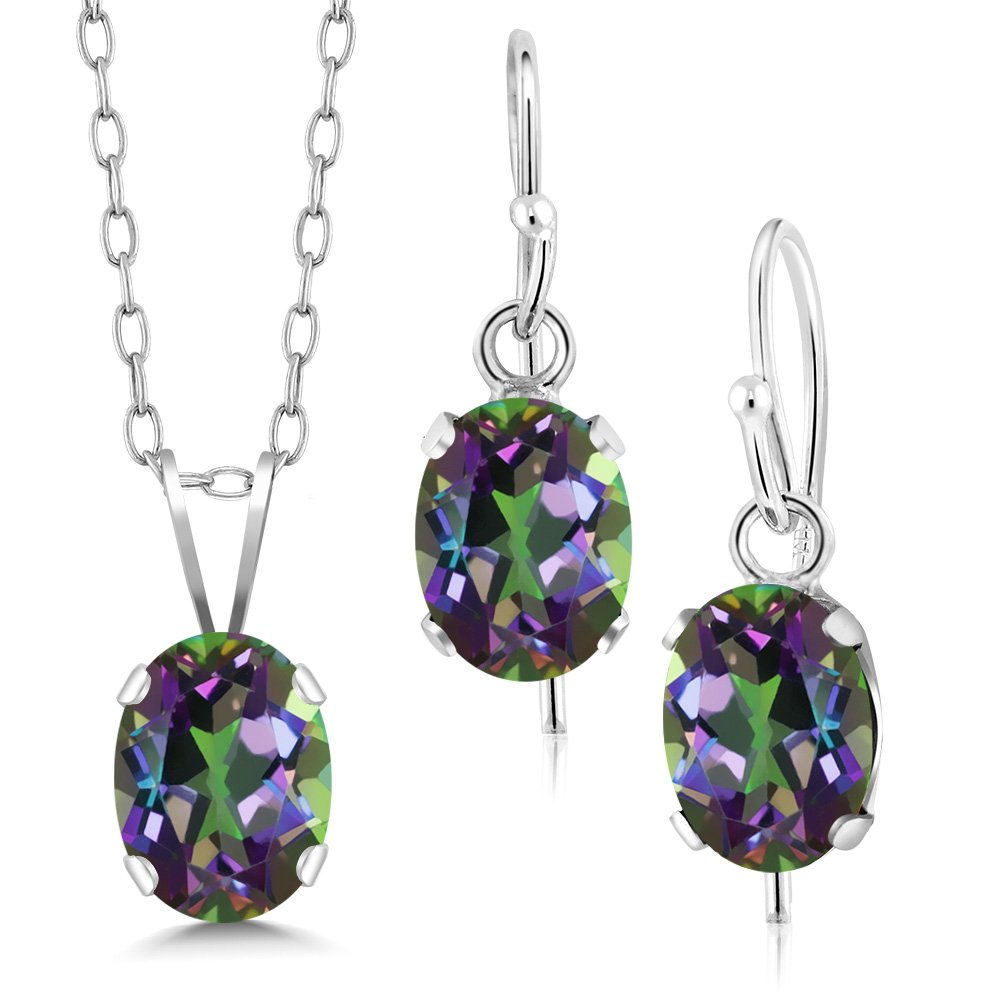 2.40 Ct Green Mystic Topaz 925 Sterling Silver Pendant Earrings Set With Chain
