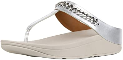bc5a81612 FitFlop Women s Fino Chain Leather Toe-Thongs
