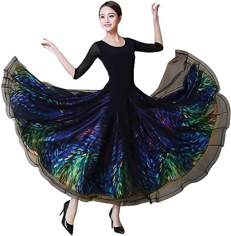 JTSYUXN Vestidos De Baile De Salón Entrenamiento For Mujeres Rendimiento Cristal Malla De Algodón Elastano Brillo Conjunto Dividido Manga 3/4 Longitud Vestido Natural: Amazon.es: Deportes y aire libre