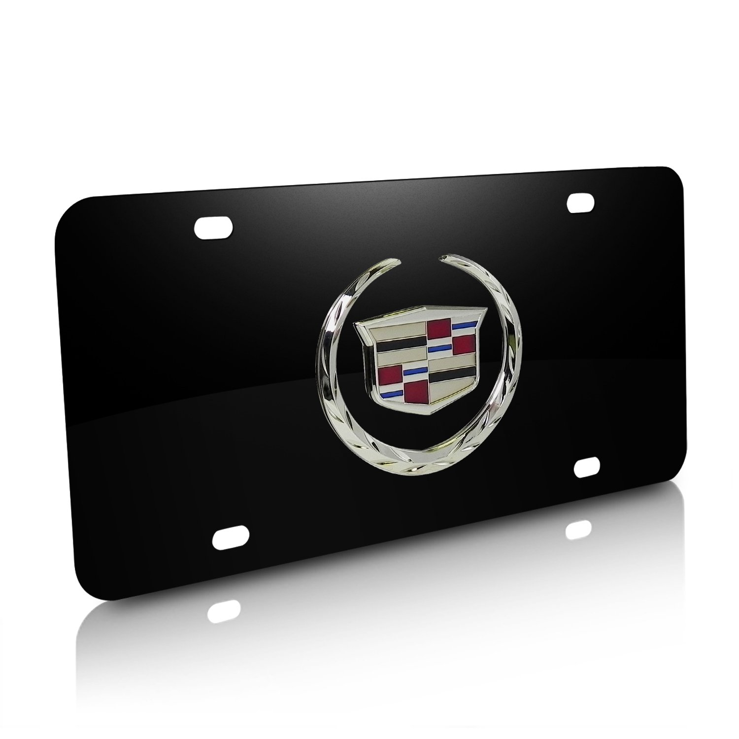 iPick Image Cadillac 3D Logo Black Stainless Steel License Plate