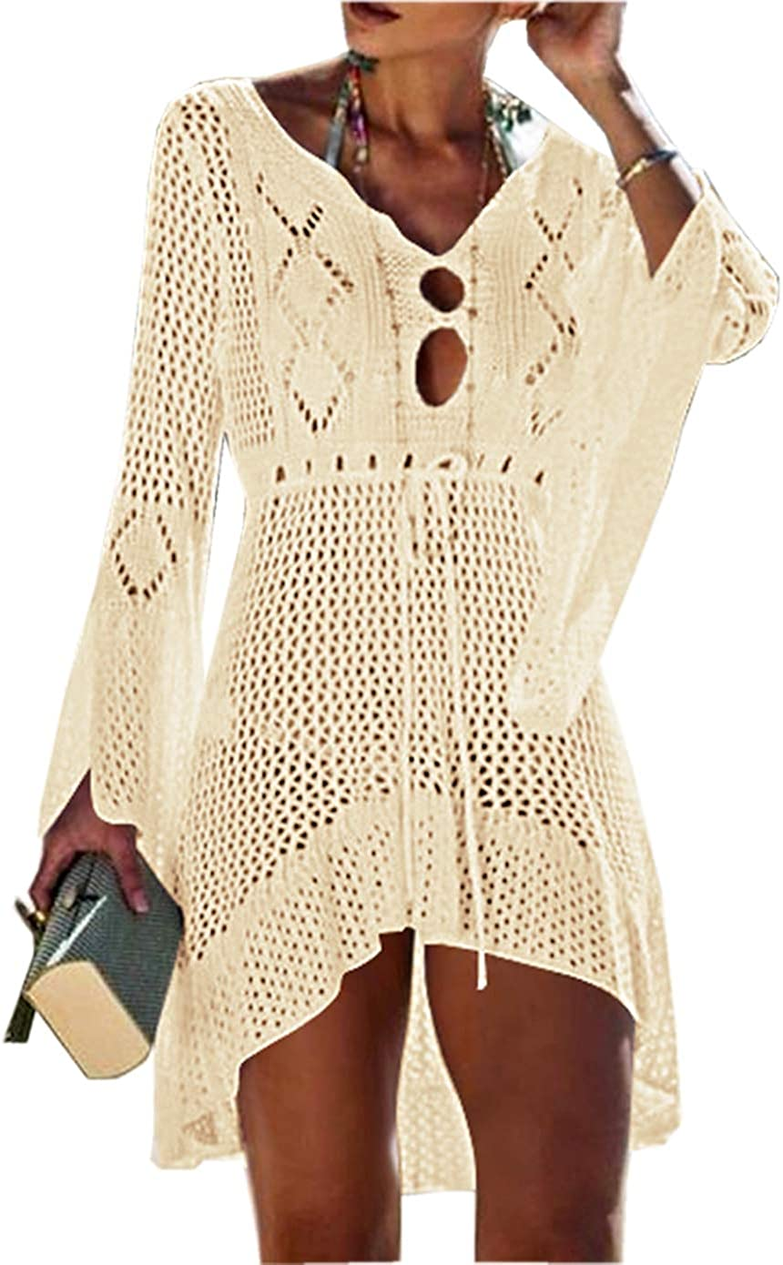 Womens Floral Lace Hollow Crochet Swimsuit Cover-Ups Tunic Beach Bathing Dress