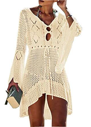 cedbc576b18fa Asskdan Women s Bathing Suit Cover Up Beach Bikini Lace Crochet Hollow Out Swimsuit  Cover Ups (