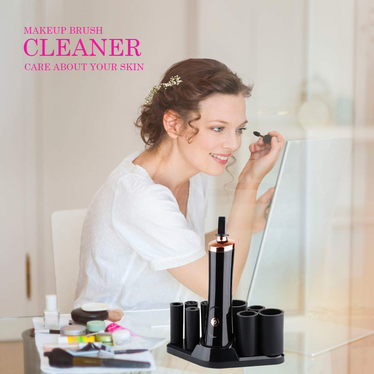 Makeup Brush Cleaner, Electric Automatic Cosmetic Brushes Cleaner and Dryer Machine Deep Cleans and Dries All Makeup Brushes in Seconds