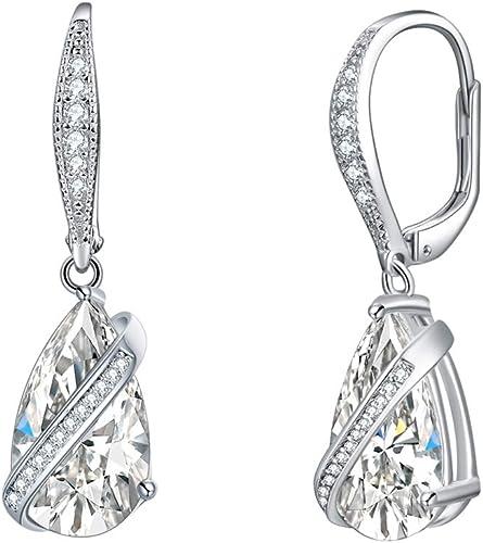 Genuine S925 Solid Sterling Silver 8mm Zirocnia Crystal Dangle Bridal Earrings