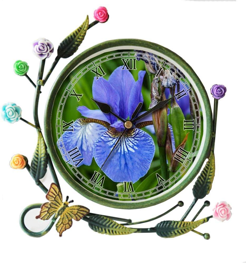 girlsight Iron Art Living Room Butterfly Flower Leaf Decorative Non-Ticking Quartz, Analog Large Numerals Bedside Table Desk Alarm Clock-446.Lily, Blue Iris, Flower, Transience