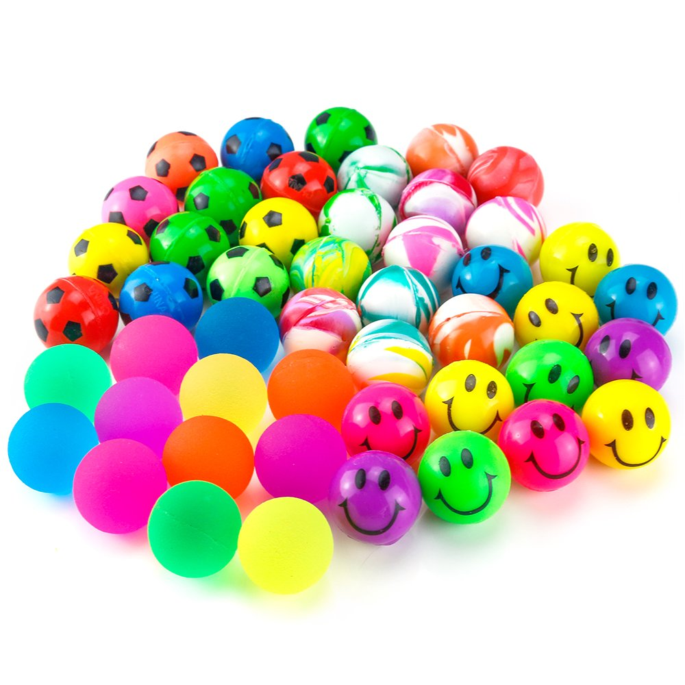 Pllieay 48 Pieces 4 Style 25mm Bouncy Balls Bulk Set Include Mixed Colour Ball Series, Neon Ball Series, Football Series and Smiley Ball Series for Party Bag Fillers