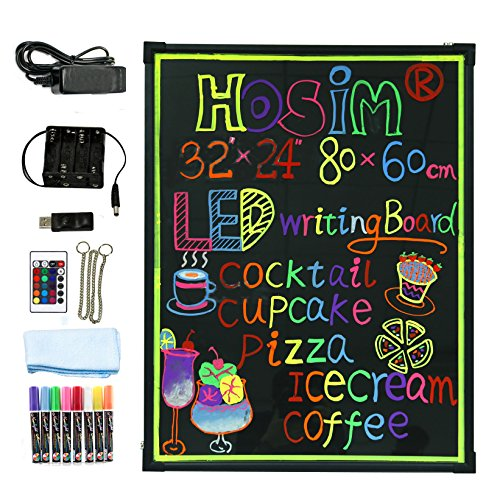 Hosim LED Message Writing Board, Illuminated Erasable Neon Effect Restaurant Menu Sign with 8 colors Markers, 7 Colors Flashing Mode DIY Message Chalkboard for Kitchen Wedding Promotions (6080)¡­ - Illuminated Menu Board