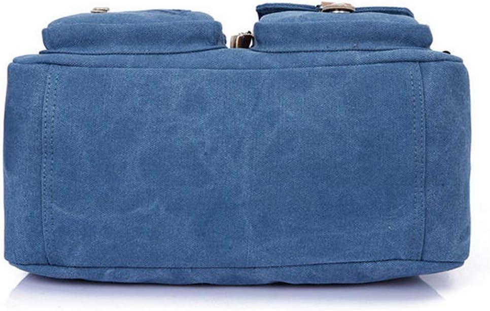 Color : Color Blue, Size : OneSize JXHJQY Women Canvas Tote Handbags Contrast Color Shoulder Bags Multi Pockets Crossbody Bags