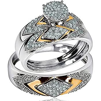 His Her Wedding Rings Set Trio Men Women 14k White Gold Two Tone (I2/