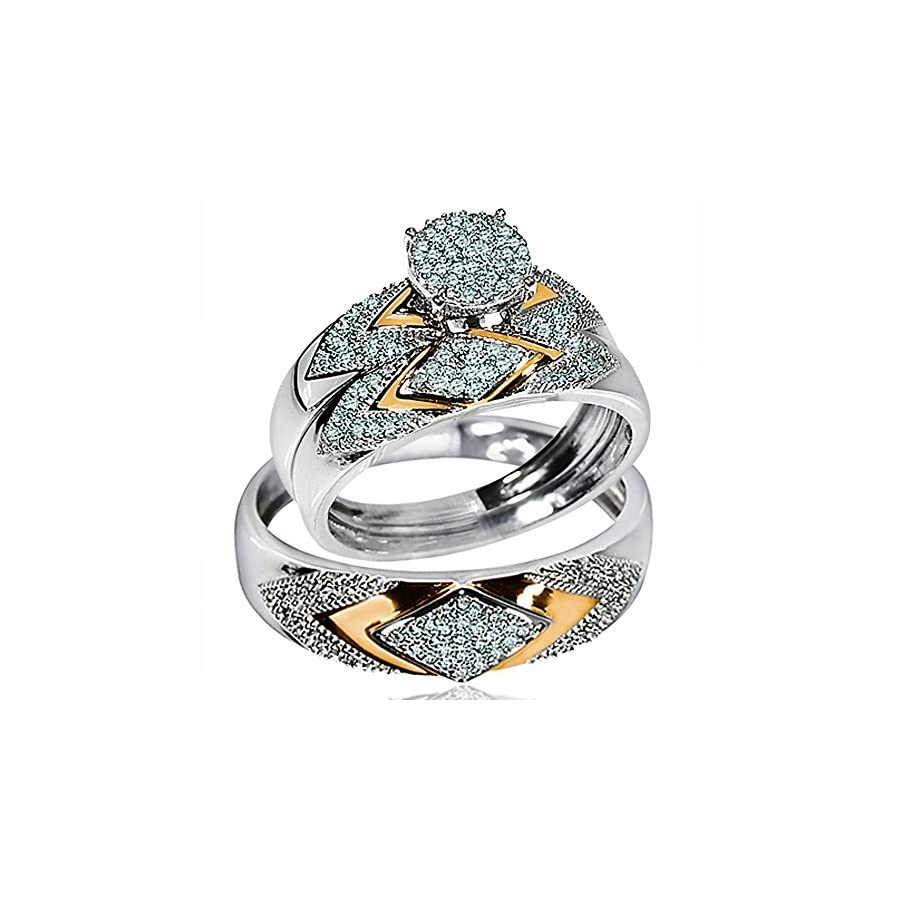 His Her Wedding Rings Set Trio Men Women 14k White Gold Two Tone (I2/i3 Clarity, I/j Color)