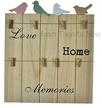 Chic Shabby Rustic Wooden Memo Notice Board with Pegs Bird