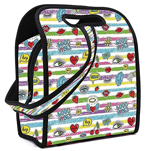 Good Vibes Custom Neoprene Lunch Bag,Colorful Grungy Stripes Retro Art Elements Eyes Hearts Cherries Speech Bubbles Decorative for Lunch Trip Travel Work,Square(8.5''L x 5.5''W x 11''H) ()