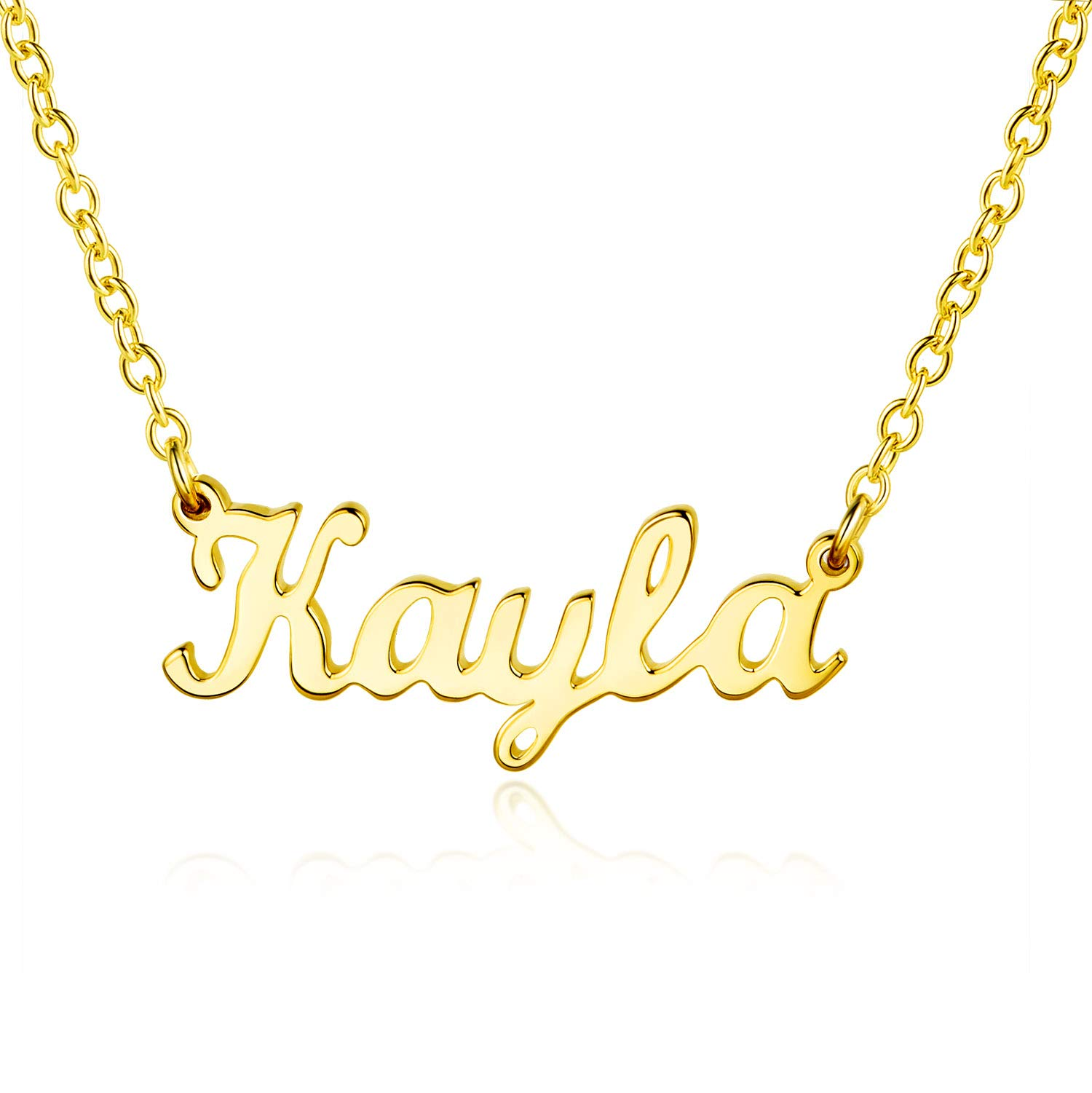 MISSLOVE Custom Name Necklace Personalized-925 Sterling Silver Necklace 14K Gold Plated Women Jewelry