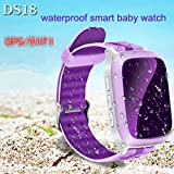 Kids Smartwatches Waterproof DS18 Smart Watch GPS Tracker 1.44 Inch Kids WiFi Locator Only Support Micro SIM Card Anti-lost SOS Call SMS Support SIM Card NEW Novelty GPS for IOS Android(39*47*13.9mm,p