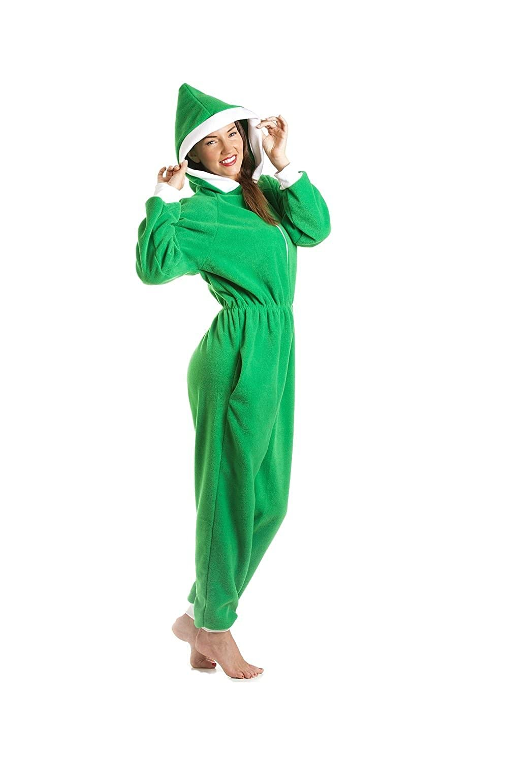 fa082c5764 Amazon.com  Camille Ladies Luxury All In One Green Elf Hooded Fleece Onesie  Pocketed Pajama  Camille  Clothing