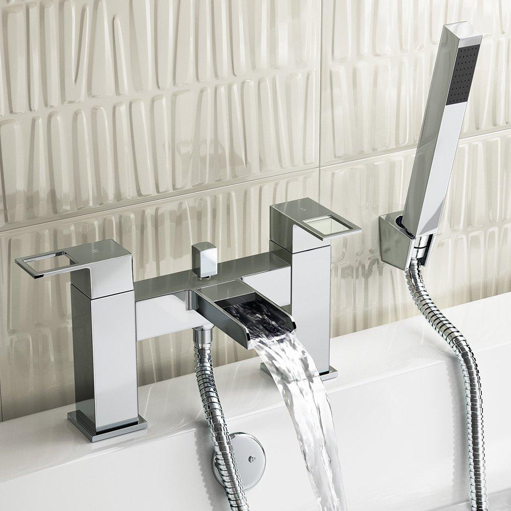 iBathUK Luxury Waterfall Bath Filler Mixer Tap Chrome Hand Held ...