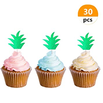 30 pcs sakolla glitter hawaiian party pineapple cupcake toppers picks donut toppers for luau